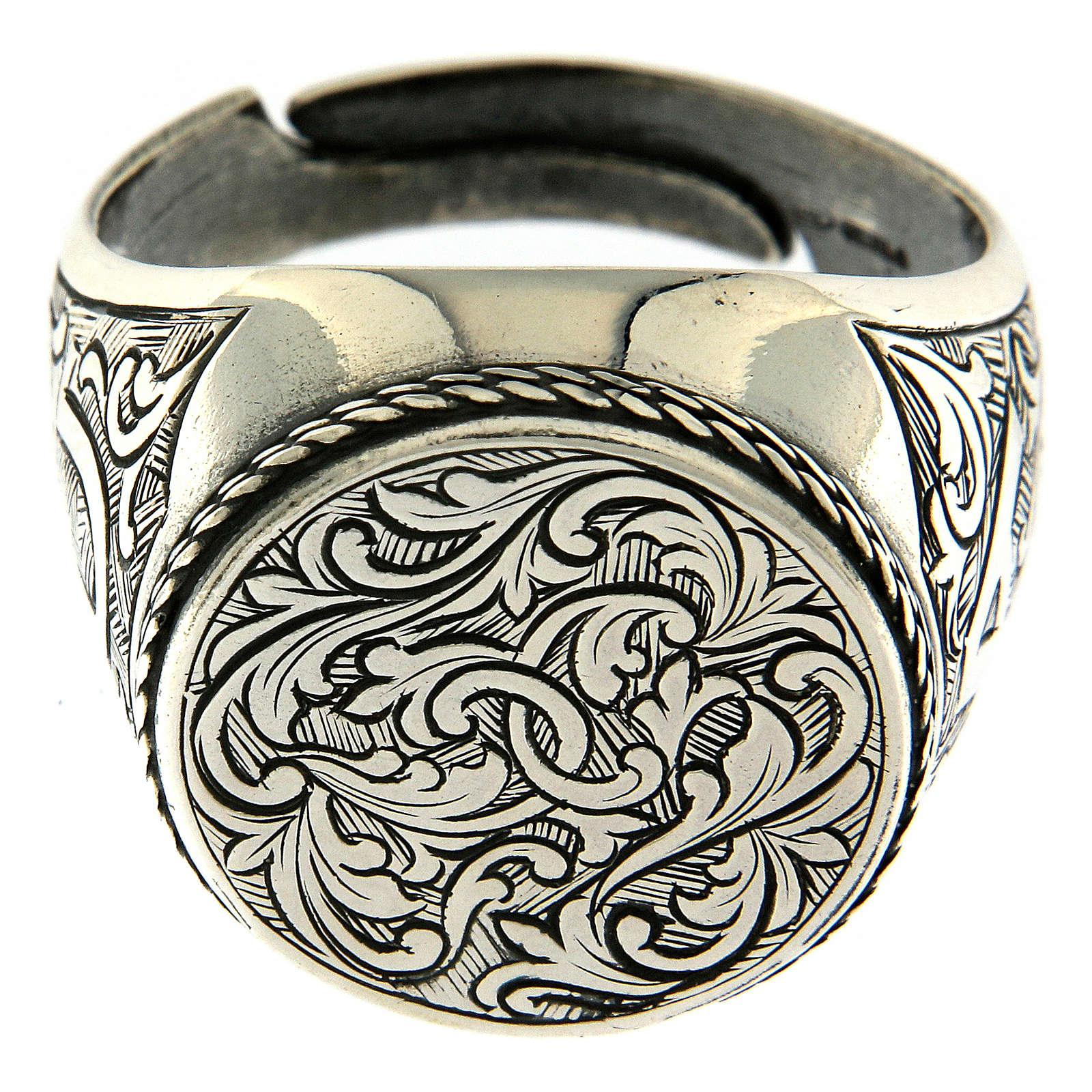Anel com gravura motivo floral prata 925 3