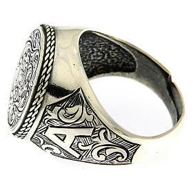 Anel com gravura motivo floral prata 925 s3