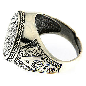 Ring with engraved floral pattern, 925 Silver s3