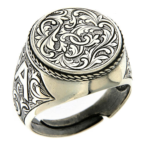 Ring with engraved floral pattern, 925 Silver 1