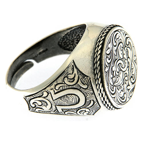 Ring with engraved floral pattern, 925 Silver 4