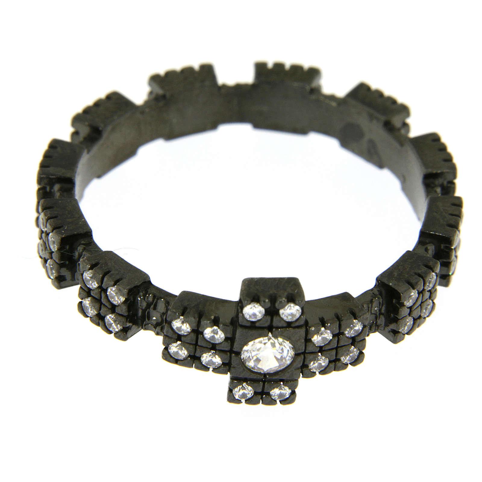 Anello decina argento 925 nero e zirconi bianchi 3