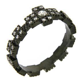 Anello decina argento 925 nero e zirconi bianchi s1