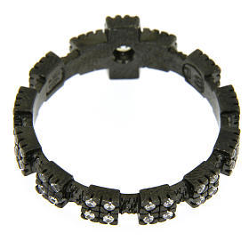 Anello decina argento 925 nero e zirconi bianchi s3