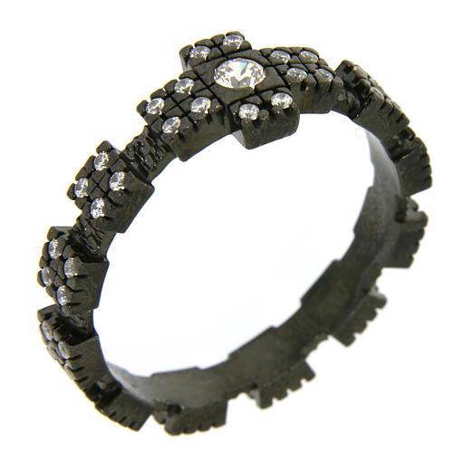 Anello decina argento 925 nero e zirconi bianchi 1