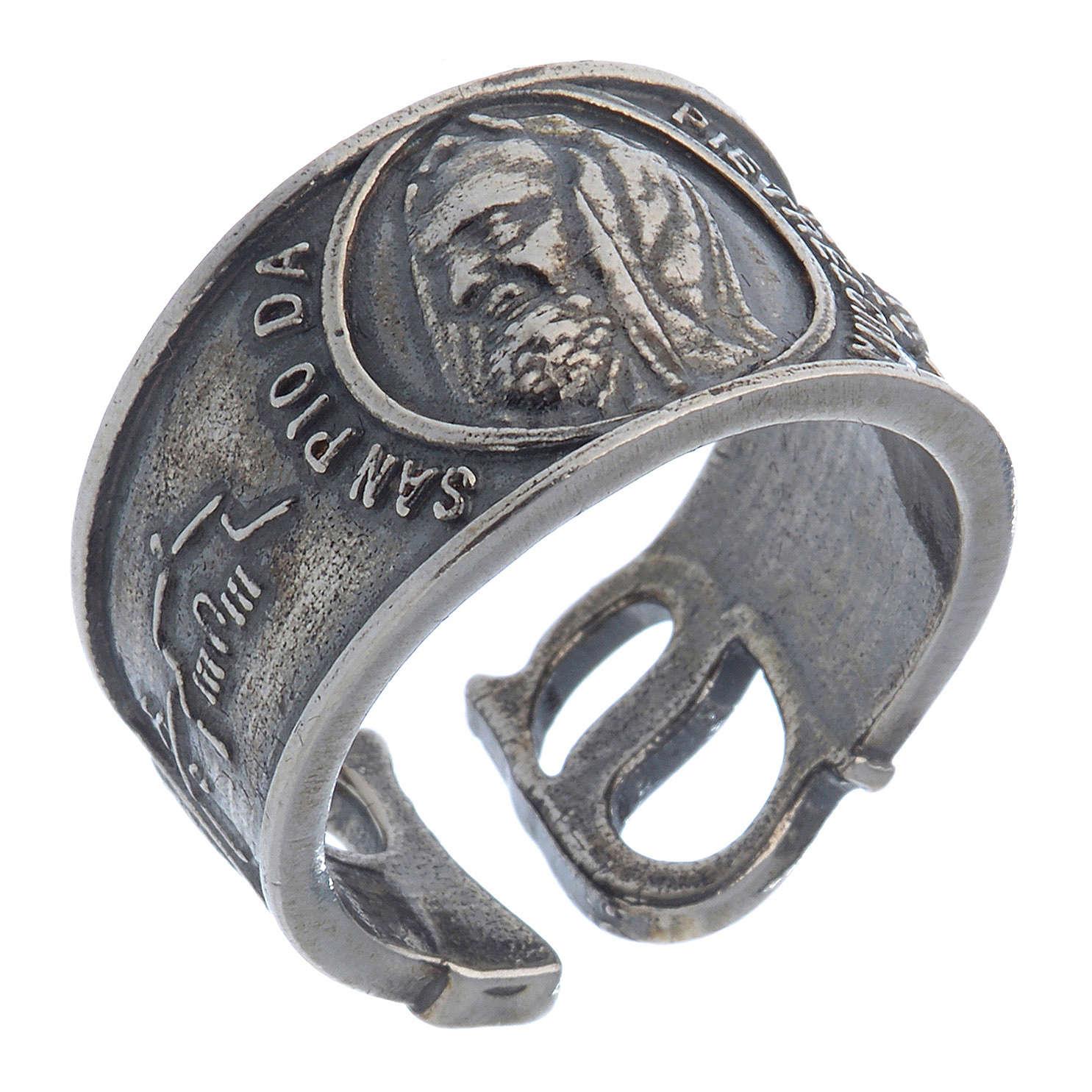 Ring in silver Saint Pio of Pietralcina 3