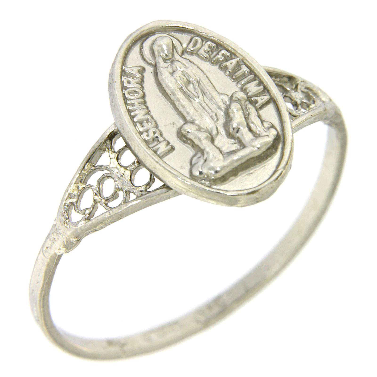 Anello Madonna di Fatima in filigrana argento 800 3