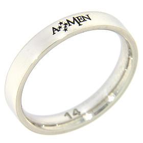 Anéis Religiosos: Anel AMEN prata 925 radiada