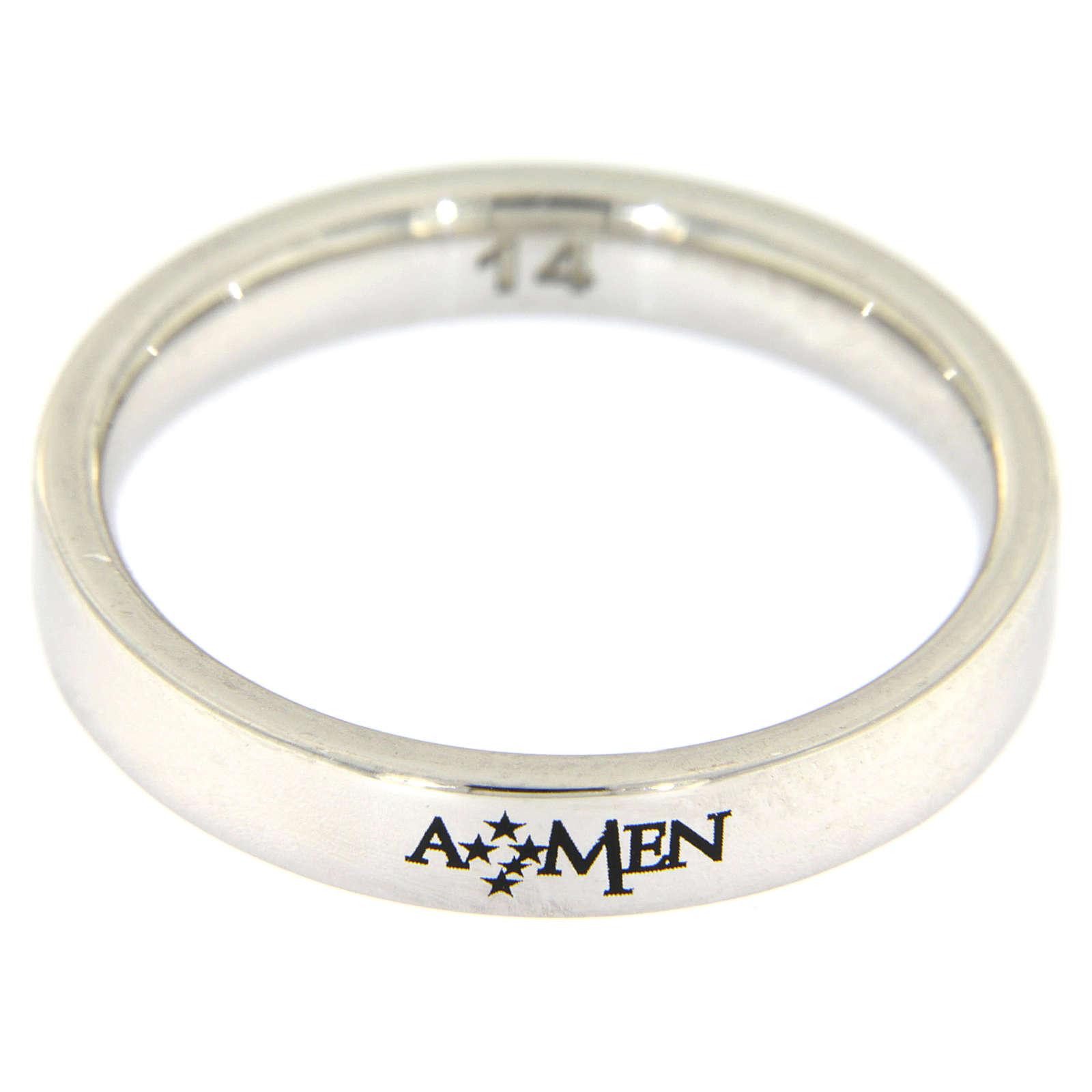 Silver ring AMEN rhodium plated 3