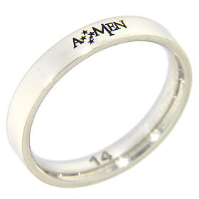 Silver ring AMEN rhodium plated s1