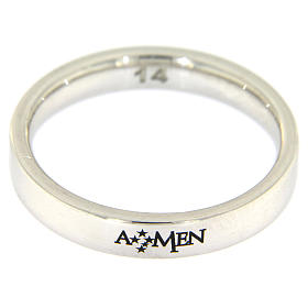 Silver ring AMEN rhodium plated s2