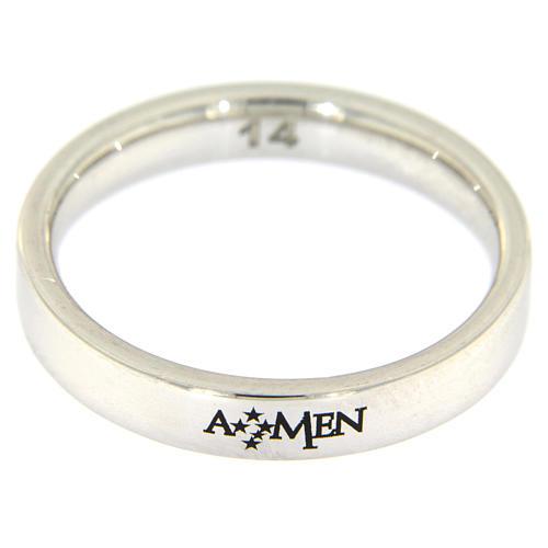 Silver ring AMEN rhodium plated 2
