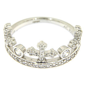 Silver ring crown with white zircons AMEN s2