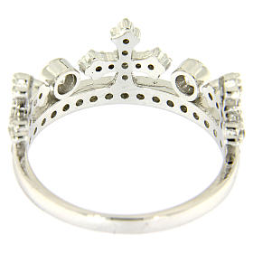 Silver ring crown with white zircons AMEN s3