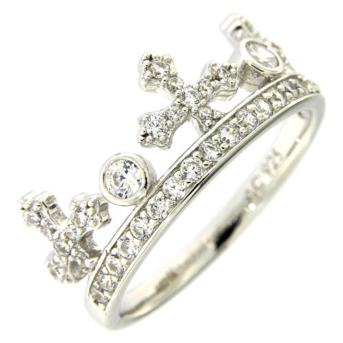 Silver ring crown with white zircons AMEN 1