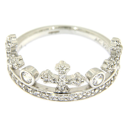 Silver ring crown with white zircons AMEN 2