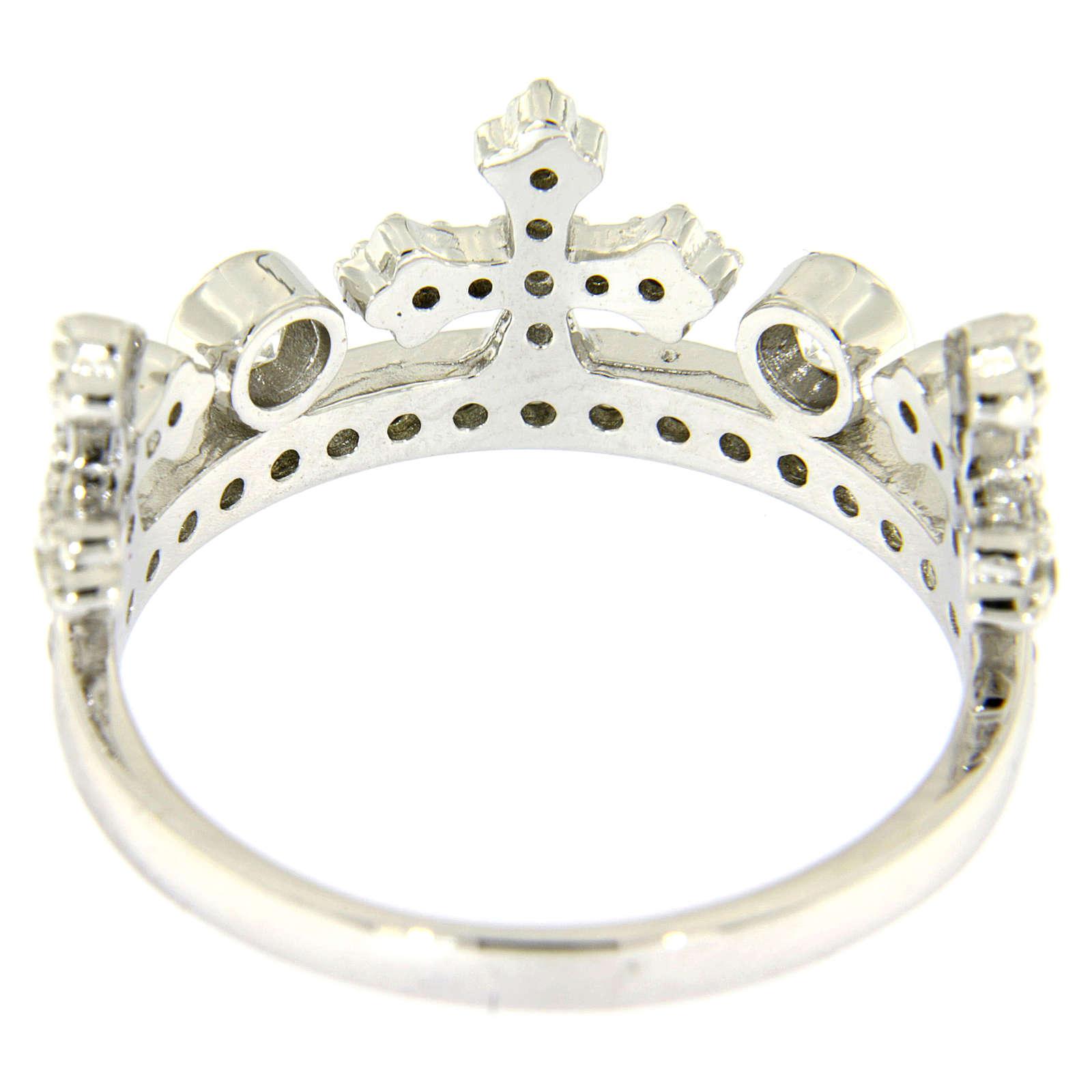 Anello con corona AMEN arg 925 rodio e zirconi 3