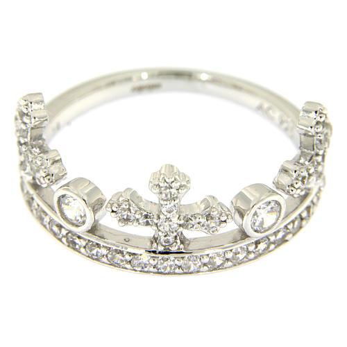 Anello con corona AMEN arg 925 rodio e zirconi 2
