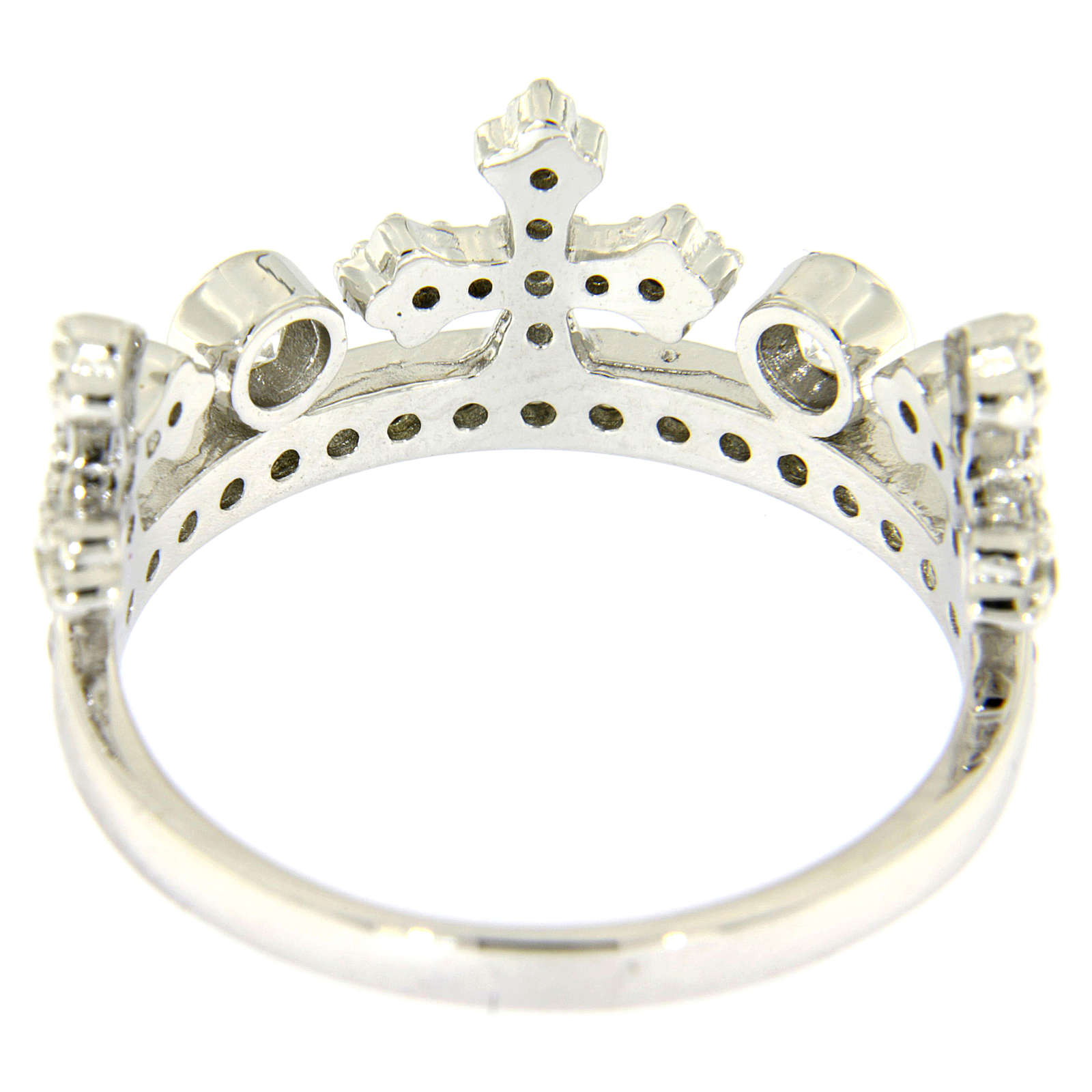 Silver ring crown with white zircons AMEN 3