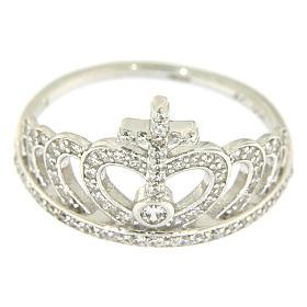 Anello Amen con corona e croce arg 925 zirconi bianchi s2