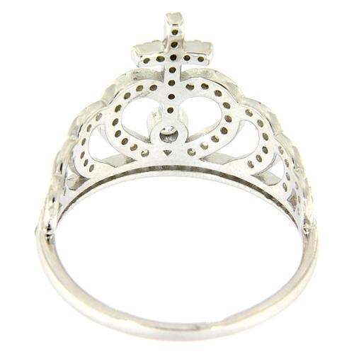 Anello Amen con corona e croce arg 925 zirconi bianchi 3