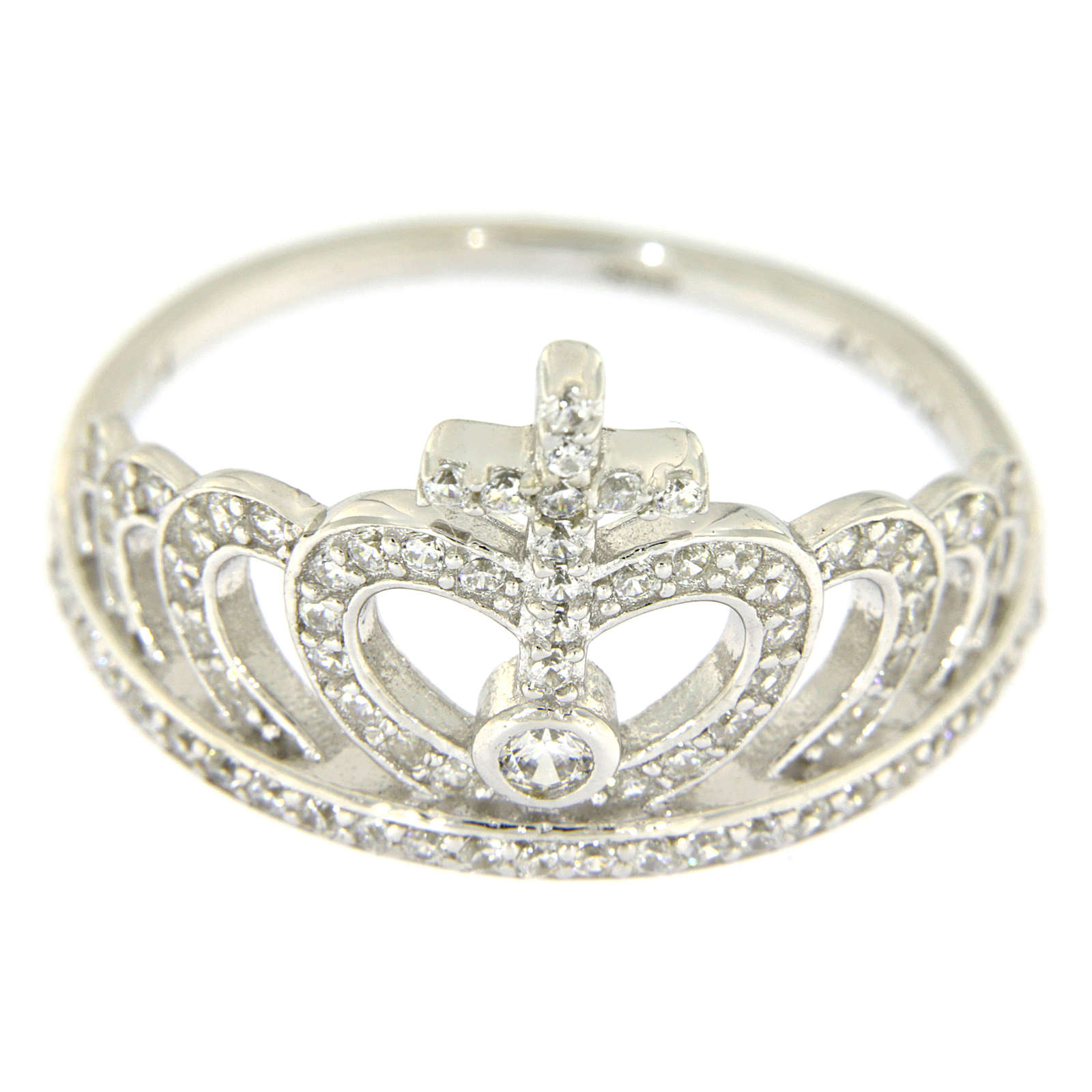 Silver ring crown and cross white zircons AMEN 3