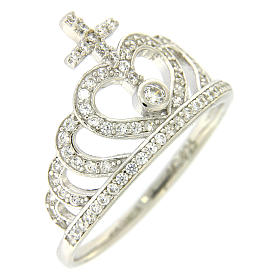 Silver ring crown and cross white zircons AMEN s1