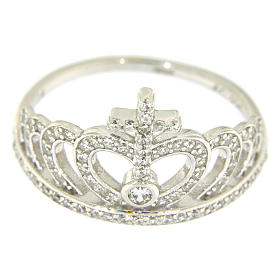 Silver ring crown and cross white zircons AMEN s2