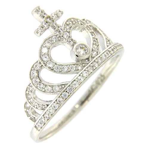 Silver ring crown and cross white zircons AMEN 1