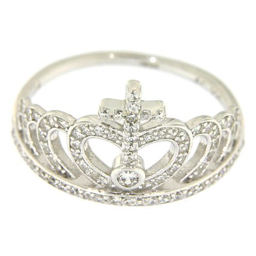 Silver ring crown and cross white zircons AMEN 2
