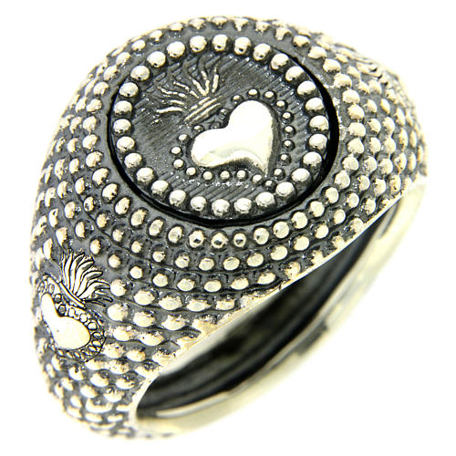 Silver ring votive heart engraving 1