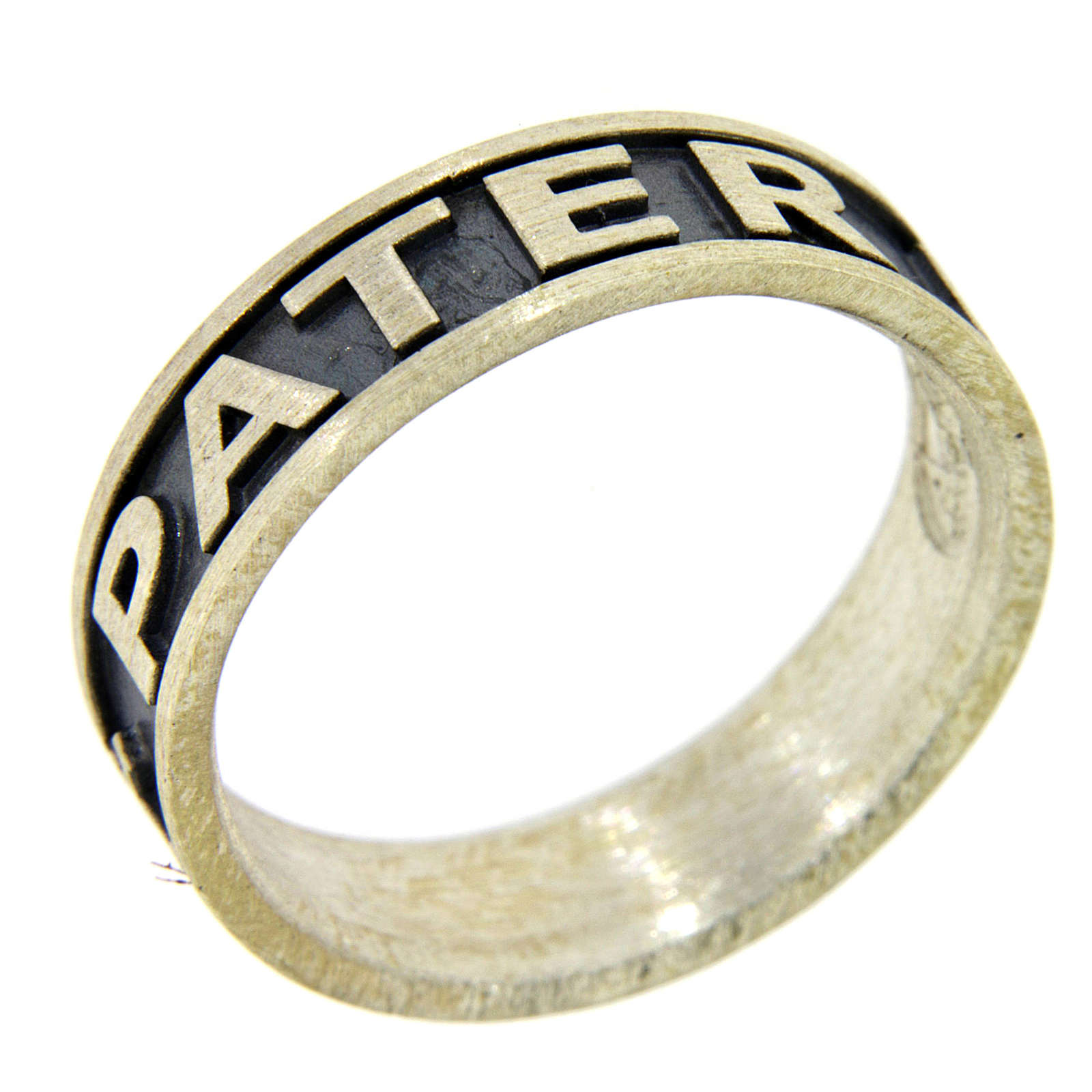 Silver ring Pater Noster AMEN burnished 3