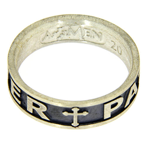 Anillo plata 925 bruñida Pater Noster AMEN 3