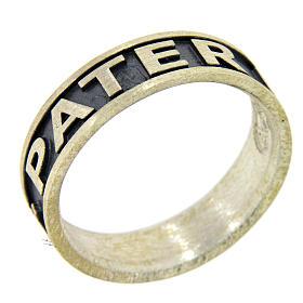 Obrączka ag 925 metalochromowane Pater Noster AMEN s1