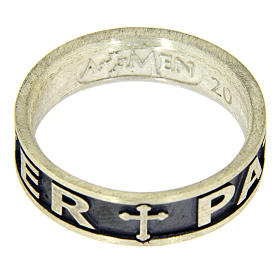 Silver ring Pater Noster AMEN burnished s3