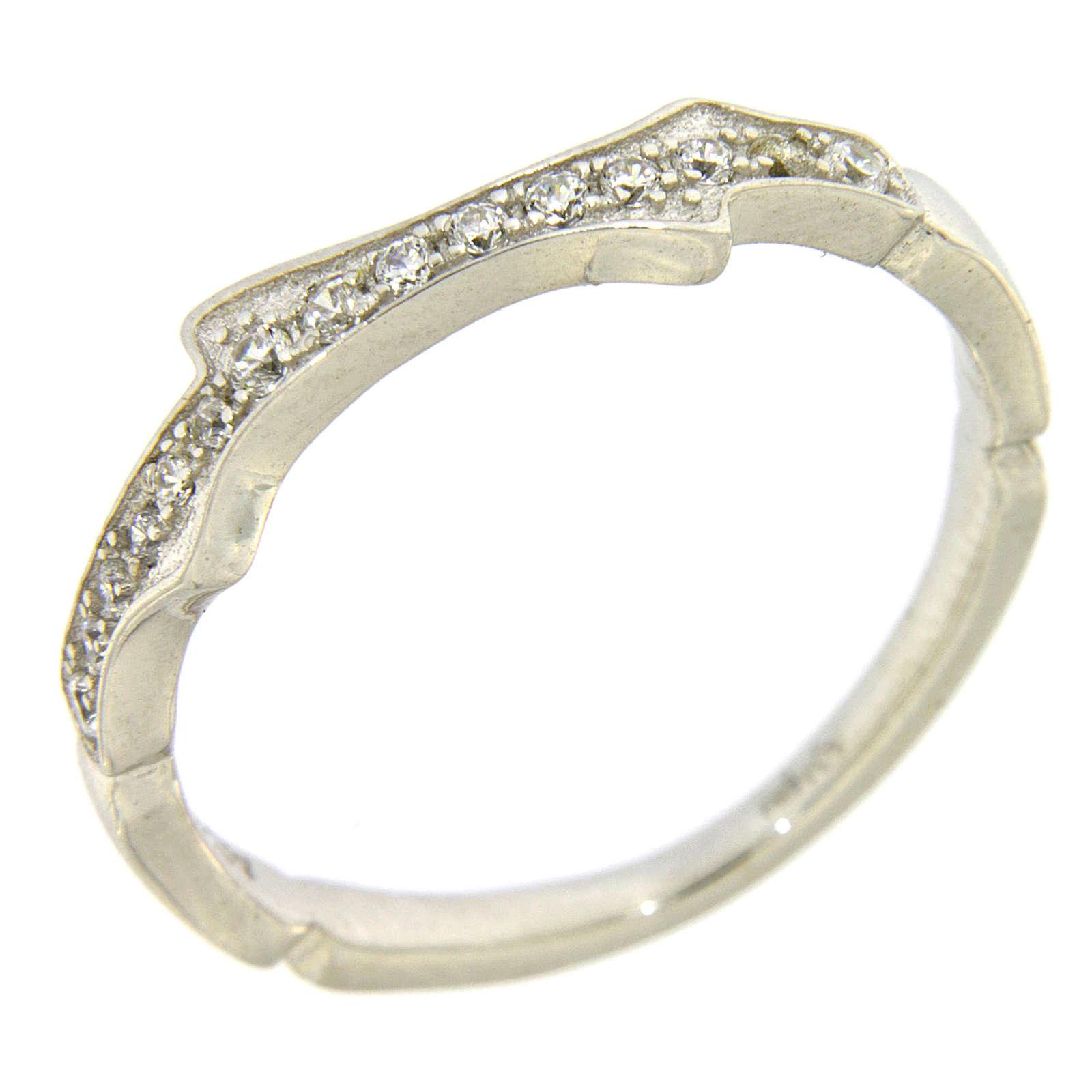 Anello AMEN argento 925 rodio e zirconi bianchi 3