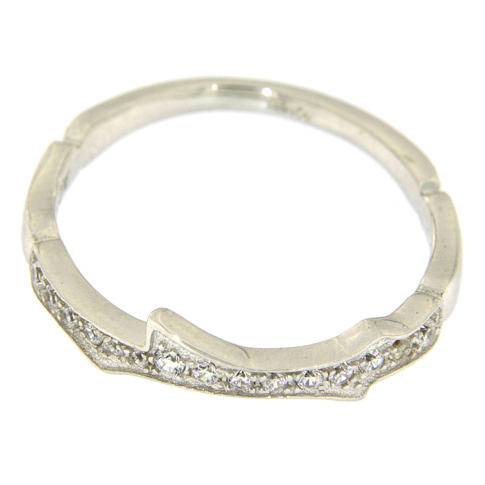 Anel AMEN prata 925 ródio e zircões brancos 3