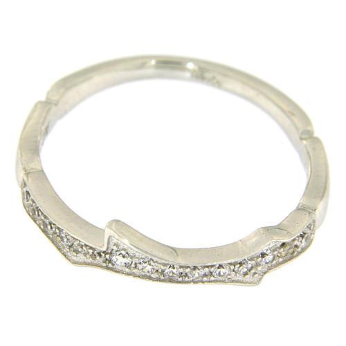 Anel AMEN prata 925 ródio e zircões brancos 2