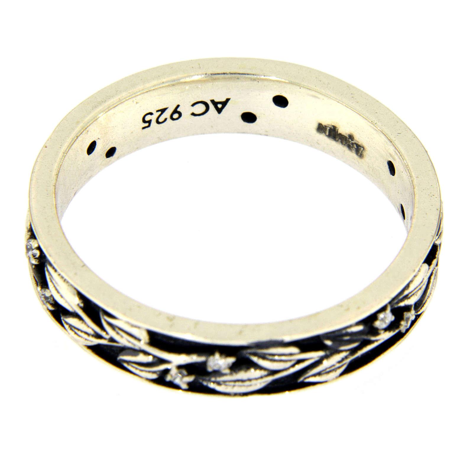 Anel AMEN prata 925 ródio folhas e zircões brancos 3
