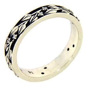 Anel AMEN prata 925 ródio folhas e zircões brancos s1