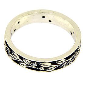 Anel AMEN prata 925 ródio folhas e zircões brancos s2