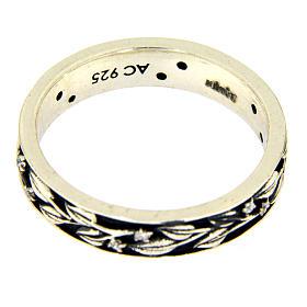 Anel AMEN prata 925 ródio folhas e zircões brancos s3