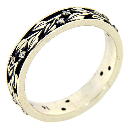 Anel AMEN prata 925 ródio folhas e zircões brancos 1