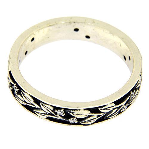 Anel AMEN prata 925 ródio folhas e zircões brancos 2