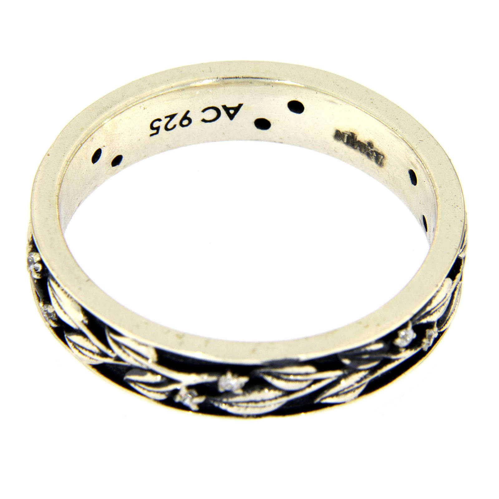 Silver and white zircons ring AMEN 3