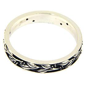 Anel prata 925 ródio folhas e zircões pretos AMEN s2