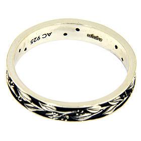 Anel prata 925 ródio folhas e zircões pretos AMEN s3