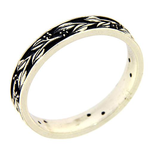 Anel prata 925 ródio folhas e zircões pretos AMEN 1