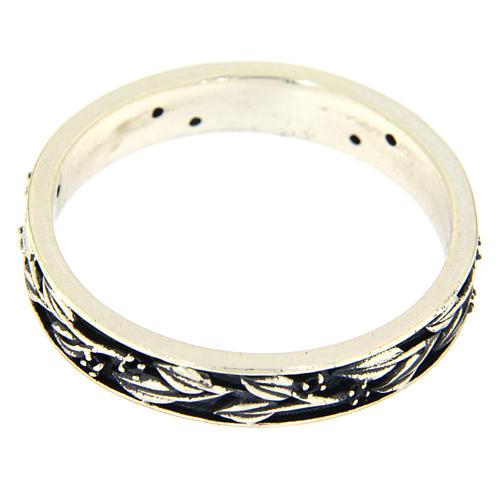 Anel prata 925 ródio folhas e zircões pretos AMEN 2