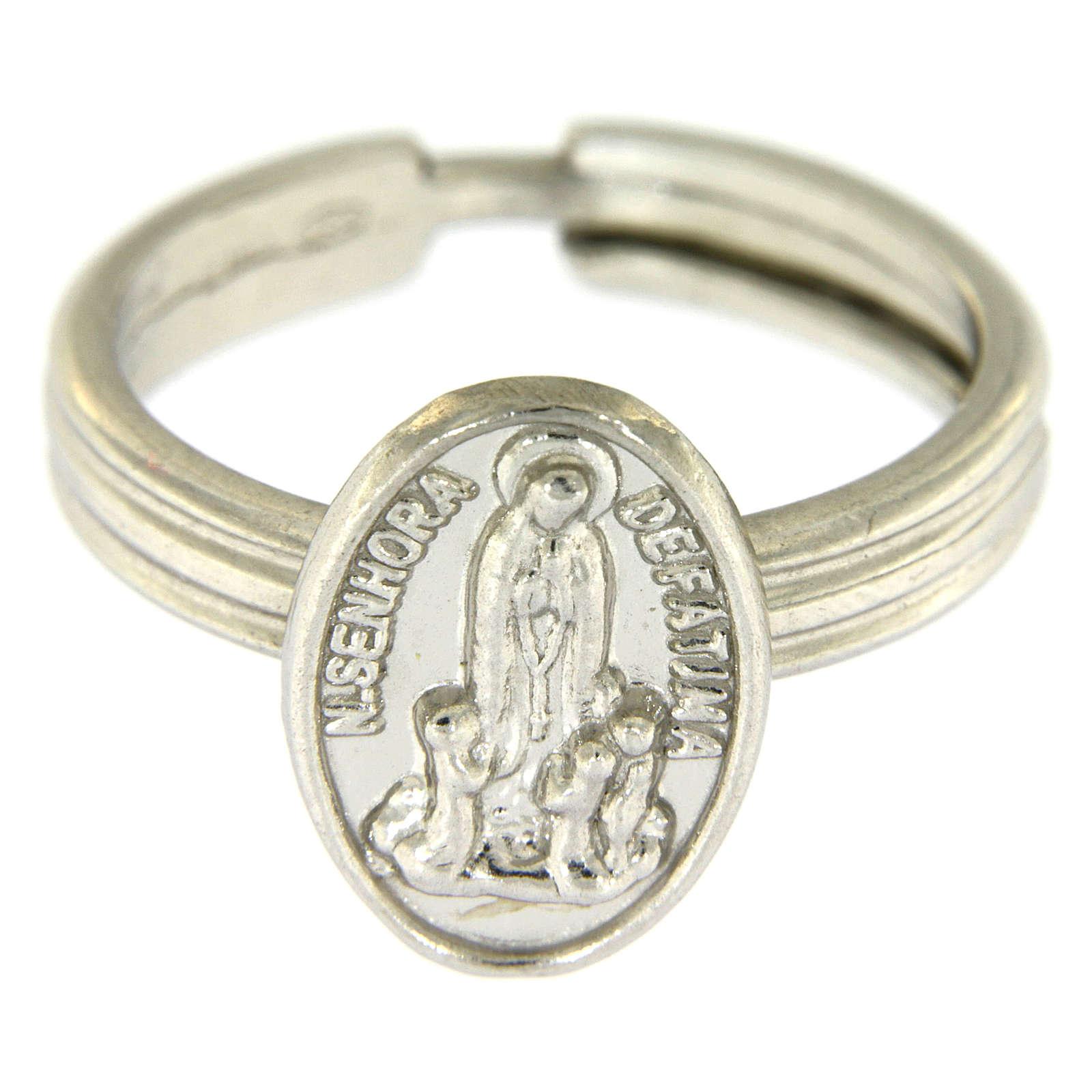 Anillo plata 800 rodiada Virgen de Fátima 3